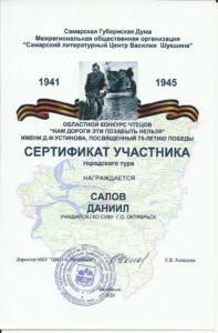 Сертификат участника Салов Даниил