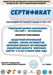 Сертификат за участие Рудницкий Д