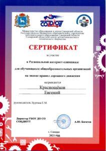 сертификат Краснощёков