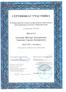 Сертификат участника Гадалин Виктор, Гадалин Сергей