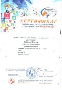 Сертификат Гадалин Виктор