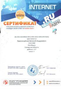 Сертификат Краснощёков Евгений