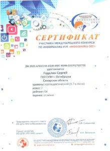 Сертификат Гадалин Сергей